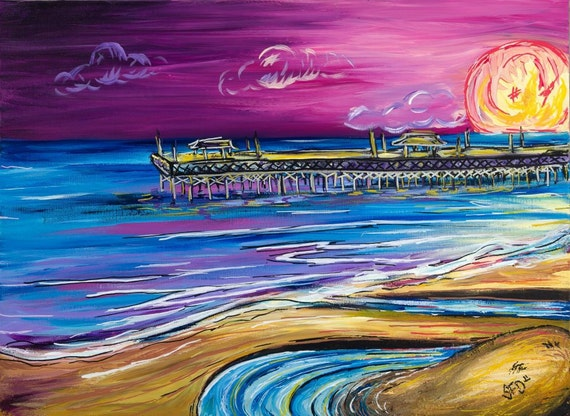 Springmaid Beach Pier 8x10 double matted to 11x14 Surf Art print