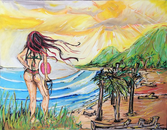 The Gully, Playa Hermosa Costa Rica Painting, 11x14 Giclee Canvas Print