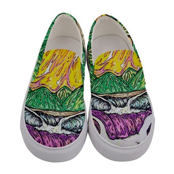 Surf Art Shoes, Caribbean Surf, Canvas Slip on Custom Shoes