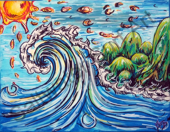 Big Wave Bubble Mountains 11x14 original canvas painting