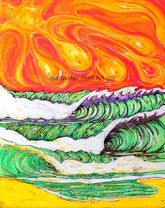 Electric Orange Surf Art Fine Art Print 11 x 17