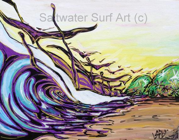 Surf Art Just Cruising, Costa Rica Surf Art 11x14 giclee