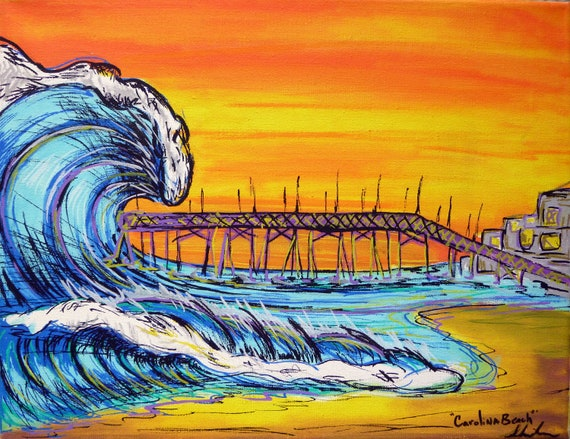 Surf Art 11x14 Giclee Canvas Print, North End of Carolina Beach, NC