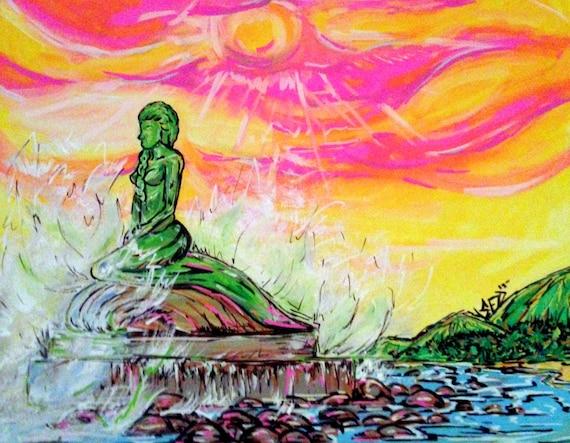 La Sirena, The Esterillos, Costa Rica mermaid statue 11x14 fine art print