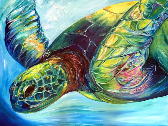 Emerald Turtle, Fine Art by Sheila Faye