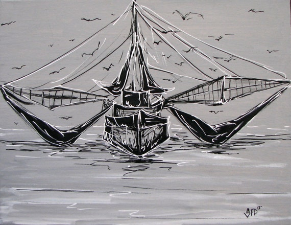 Shrimp Boat Black and White , 11 x 14 canvas print