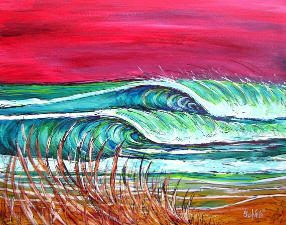 Surf Art, Red Dawn, 11x14 matted print by Sheila Faye