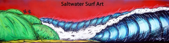 Surf Art 12x48, The Hills, Giclee Canvas Print