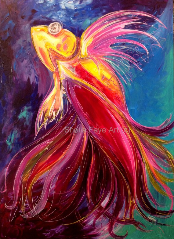 Dancing Betta Fish, Giclee Canvas Print