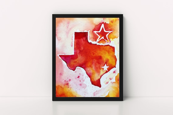 Texas state outline watercolor print