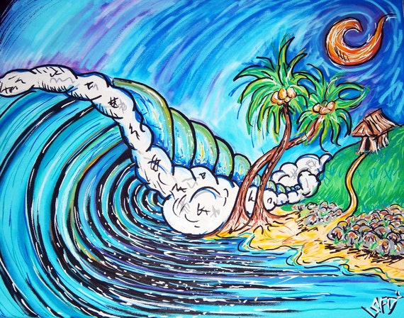 Surf Art canvas 16x20 print Giclee Palmetto State Surfing Style Painting