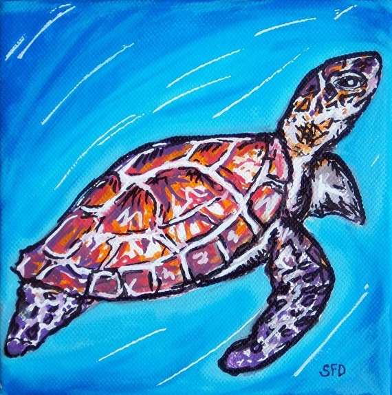 Mini Turtle Painting 6x6 Print matted to 11x14
