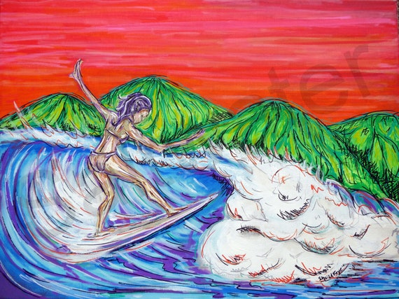 Costa Rica Surfer Girl Original Painting Surf Art 18x24 giclee print on canvas
