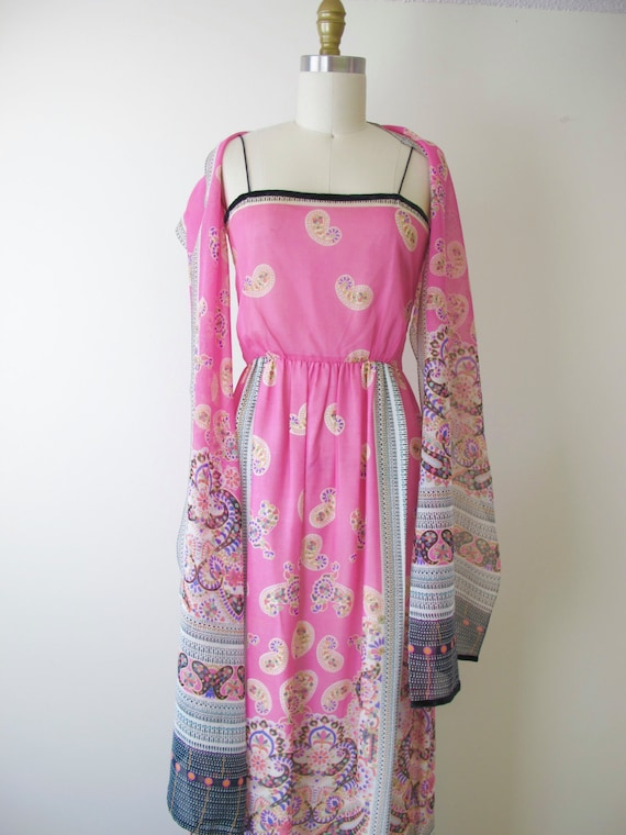 1970s Dominic Rompollo Pink Border Print Dress