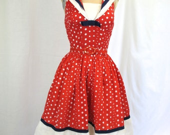 1950s Red Polka Dot Sailor Cocktail Party Dress
