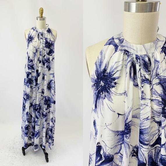 1970s Floral Halter Dress