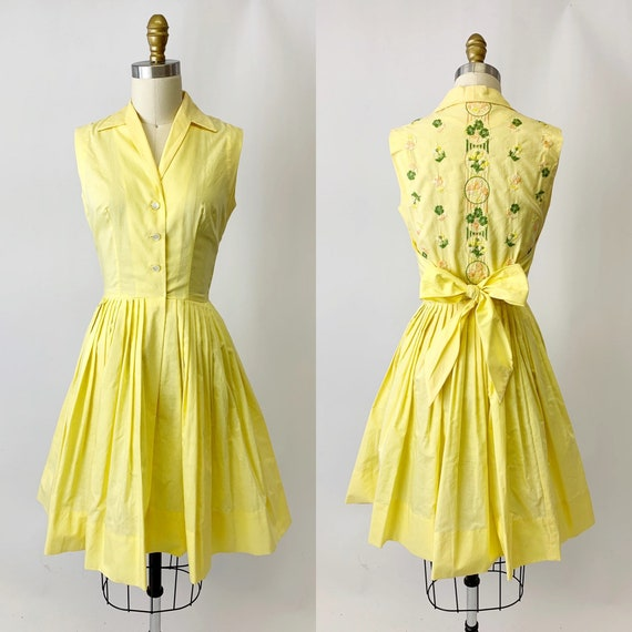 1950s Yellow Embroidered Shirt Dress