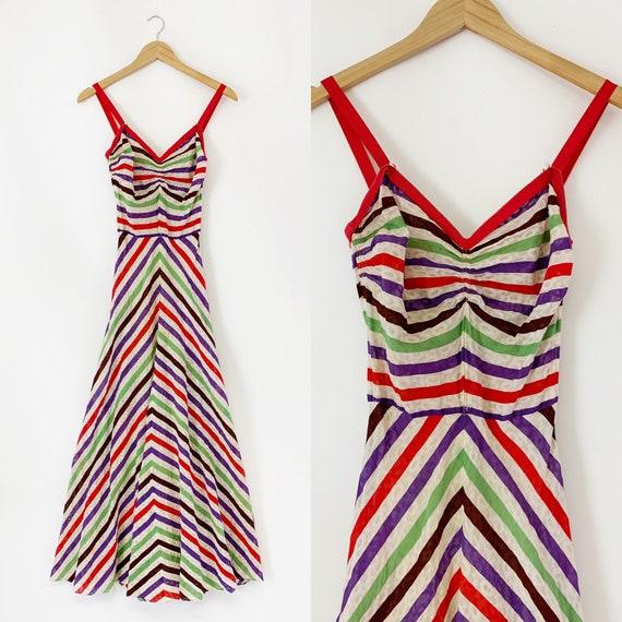 1930s Candy Stripe Day Dress