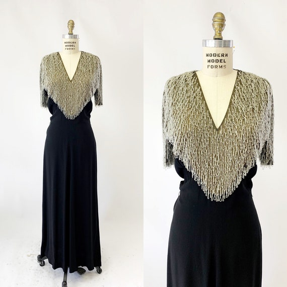 1930s Beaded Crepe Bias Cut Evening Gown