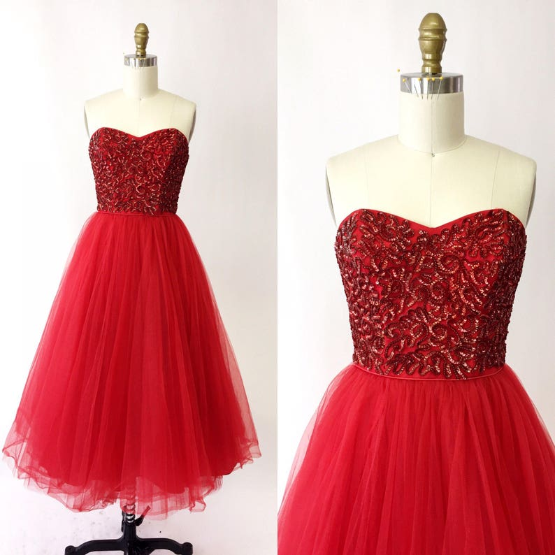 f7145c5c02d 1950s Red Sequin Strapless Prom Gown