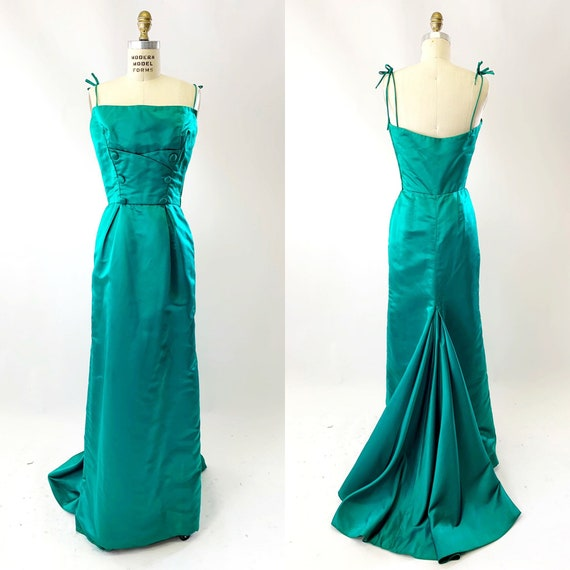 1950s Emerald Silk Oleg Cassini Evening Gown