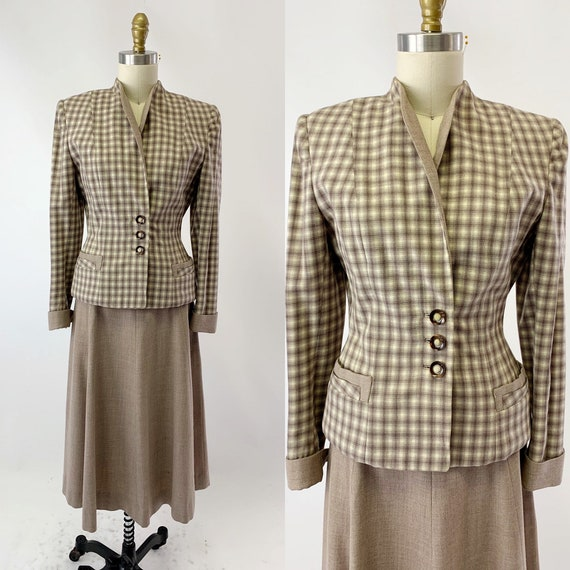 1940s Wool Plaid Fitted Suit with Shawl