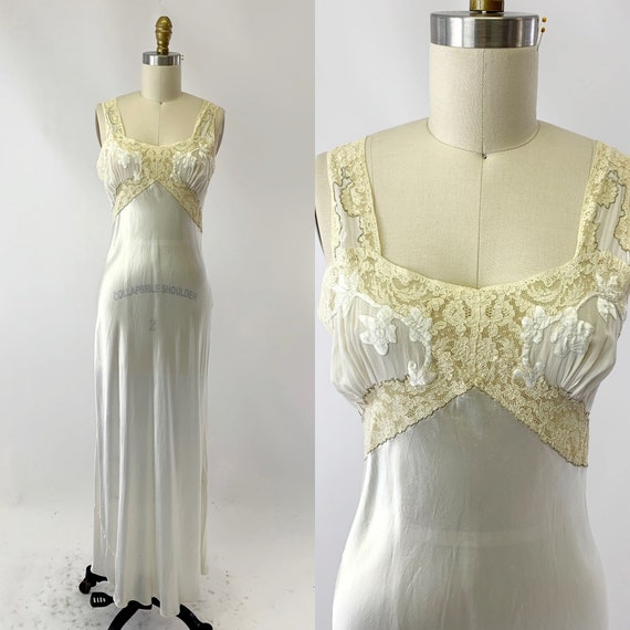 1930s White Bias Cut Satin Night Gown