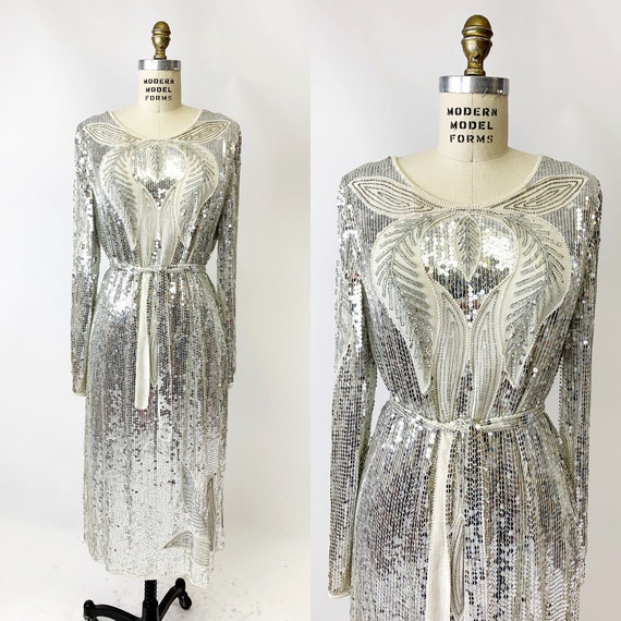 1980s Silver Sequin Dress