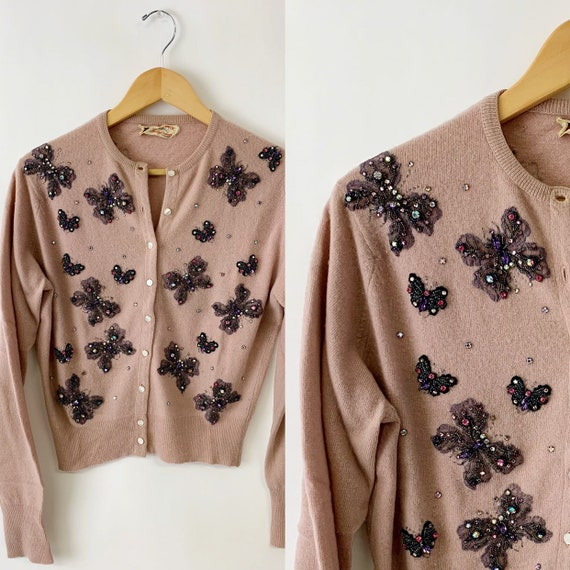 1950s Butterfly Beaded Cardigan Sweater