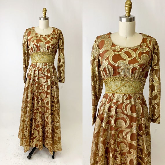 1970s Sparkling Gold Lame Lord and Taylor Evening