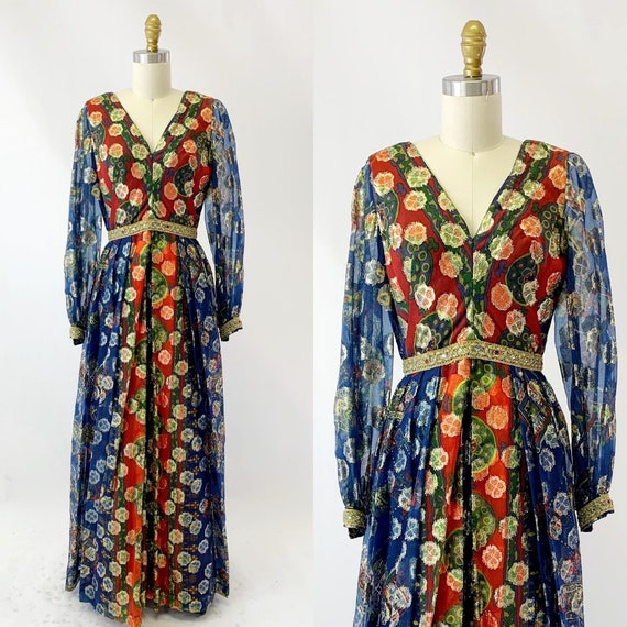 1970s Gold Lame Evening Dress