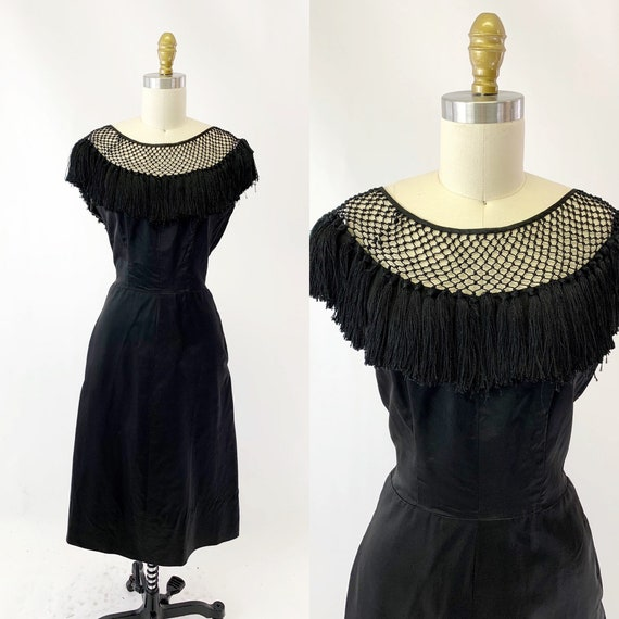 1950s Crochet Top Black Silk Cocktail Dress