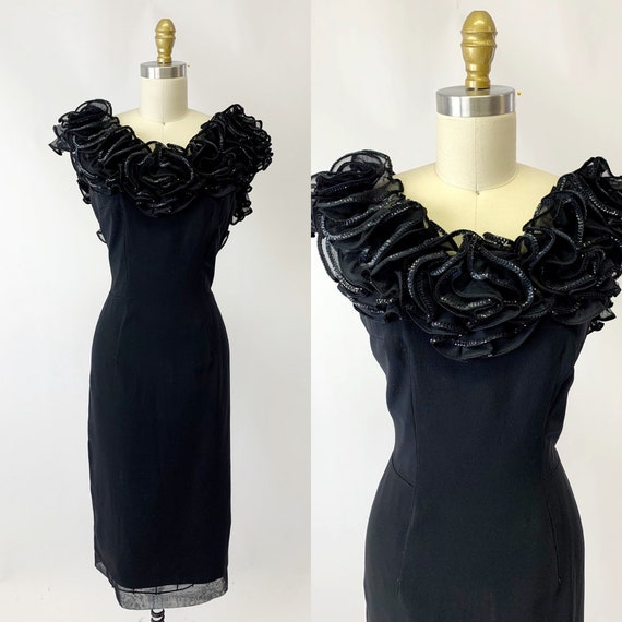 1960s Black Sequin Ruffle Party Dress