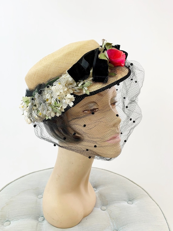 1950s Natural Straw Floral Hat with Netting