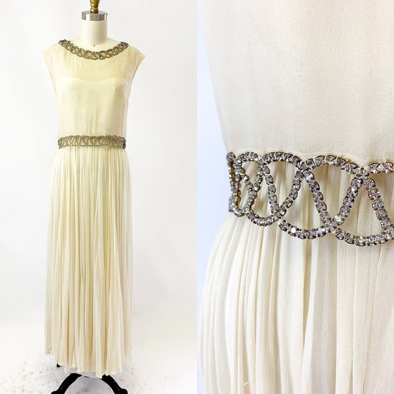 1960s White Silk Chiffon and Rhinestone dress