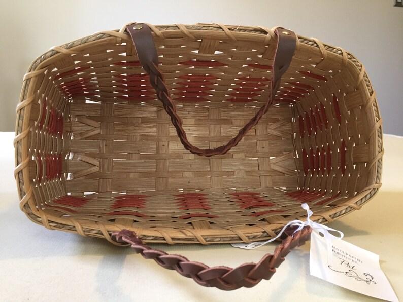Handmade Tote Basket Leather Handles and Orange Flower