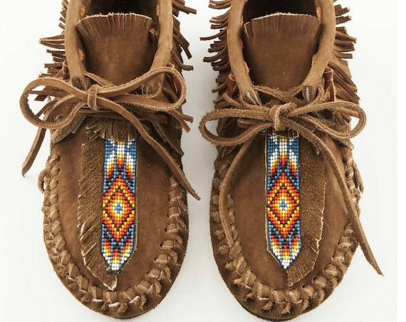 Handmade Leather Beaded Moccasins , Leather Moccasin , Ethnic Moccasin , Handmade Shoes sz.7