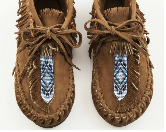 Handmade Leather Beaded Moccasins , Leather Moccasin , Ethnic Moccasin , Handmade Shoes sz 10