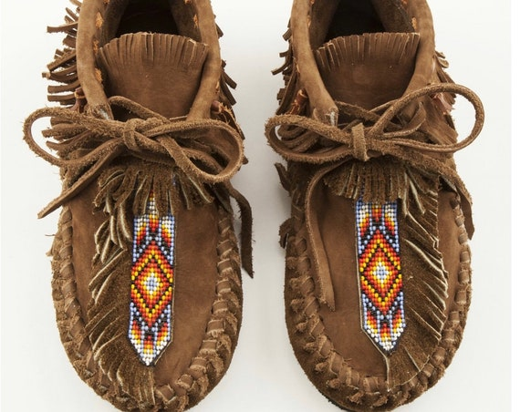 Handmade Leather Beaded Moccasins , Leather Moccasin , Ethnic Moccasin , Handmade Shoes sz 7
