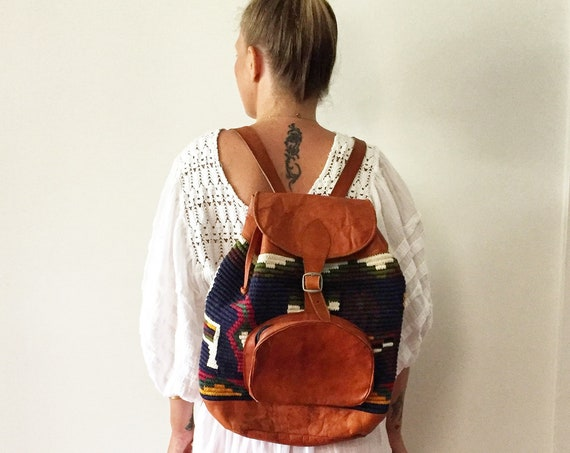 Vintage Textile and Tan Leather Backpack , Natural Leather Daypack