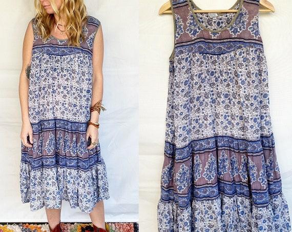 Vintage Block Print Cotton Dress , BOHO Hippie Sun Dress ,  Block Print Dress