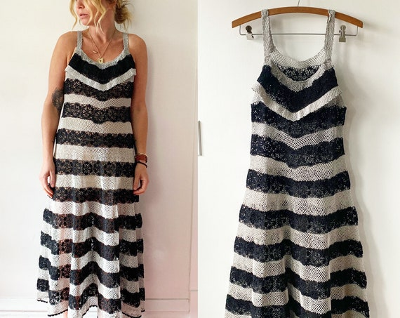 Vintage Crochet Midi Dress , Crochet Striped Dress , Sun Dress