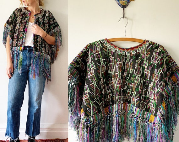 Vintage Embroidered Fringed Jacket , Guatemalan Huipil Jacket , BOHO Fringed Jacket