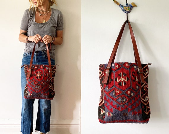 Vintage Turkish Kilim Bag, Ethnic Carpet Purse , Kilim Tote