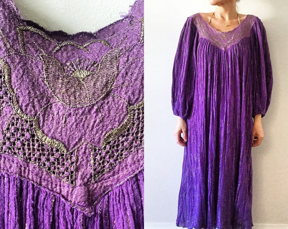 Vintage 70s  India Cotton Gauze Dress , Metallic Gauze Dress , Indian Cotton Gauze Midid Dress