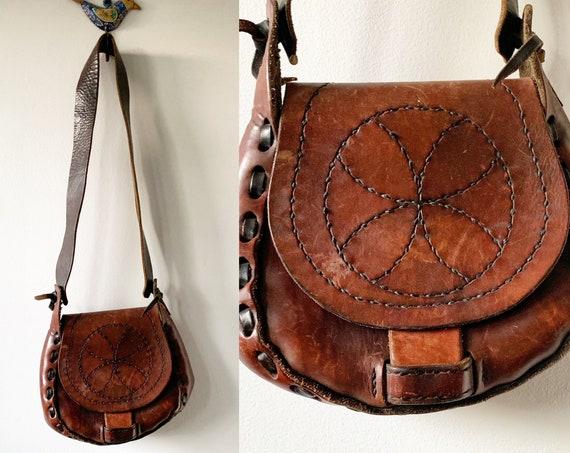 Vintage 60s BOHO Hippie Leather Bag , Mandala Bag