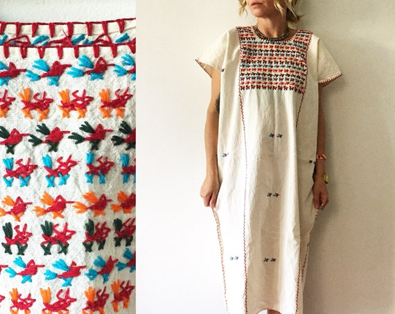 Vintage Hand Embroidered Mexican Tunic Dress , Bird Embroidered Dress, White Mexican Kaftan