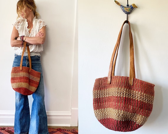 Vintage Sisal and Leather Market Bag , Ethnic Straw Straw Bag
