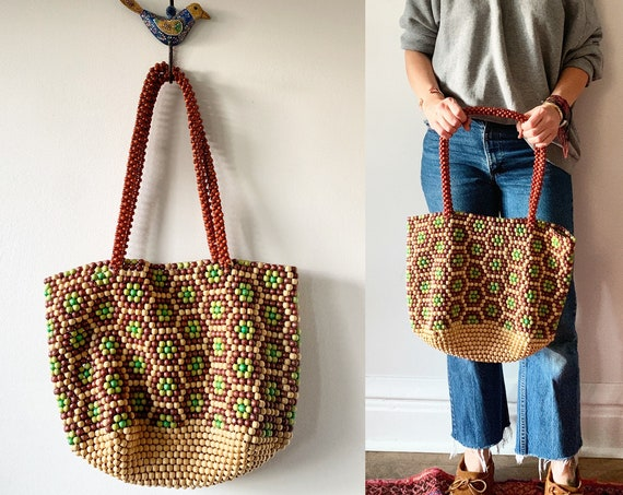 Vintage Wooden Bead Tote , Beaded Bag , Wooden Bead Purse