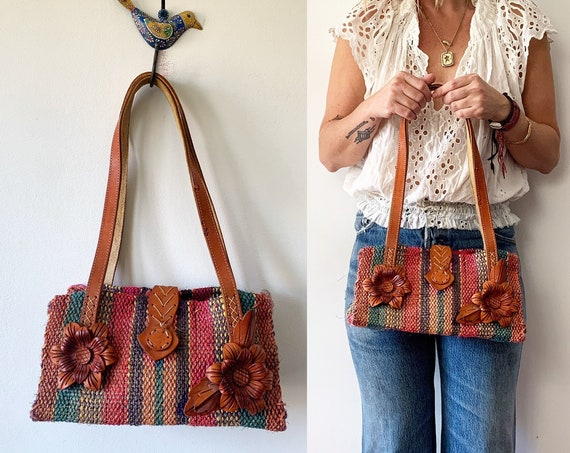 Vintage Mexican Sisal and Leather Handbag , Mini Straw Bag , Woven Sisal Bag